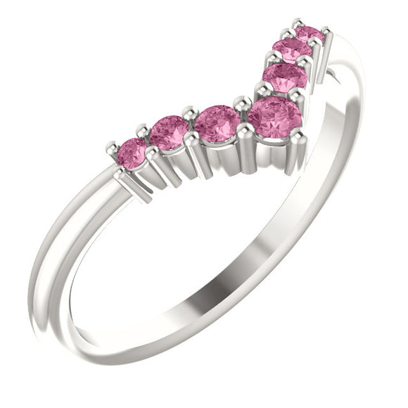 72077-Pink-Tourmaline-Sterling-Silver-Graduated V Ring-7-stones-2 mm Round Shape