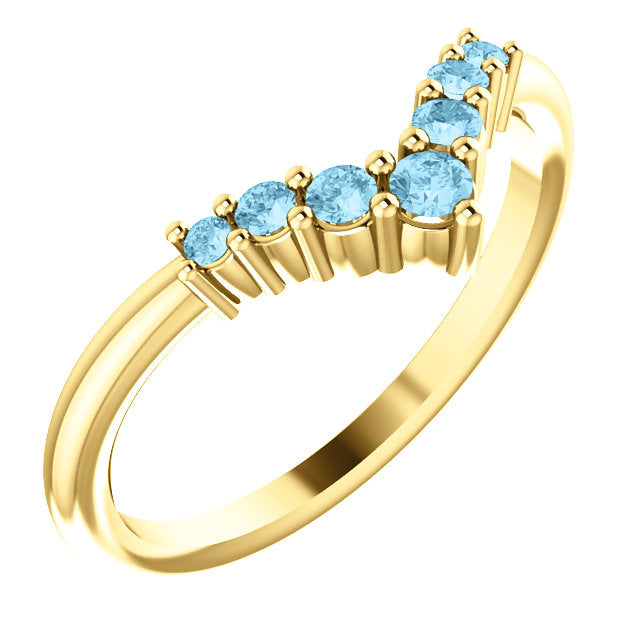 72077-14-K-Aqua-Gold-Graduated V Ring-7-stones-2 mm Round Shape