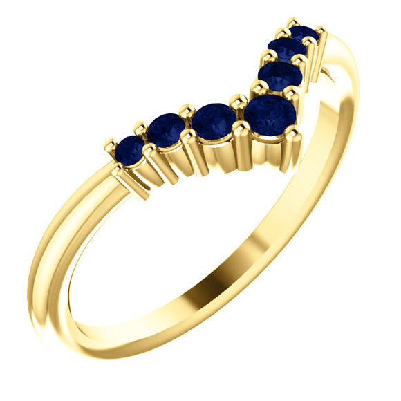 72077-14-K-Blue_Sapphire-Gold-Graduated V Ring-7-stones-2 mm Round Shape