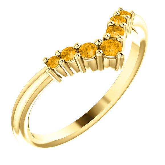 72077-14-K-Yellow_Citrine-Gold-Graduated V Ring-7-stones-2 mm Round Shape