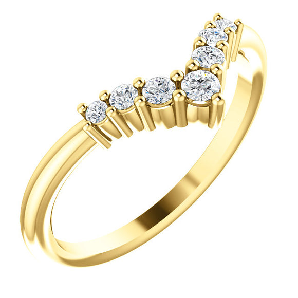 72077-14-K-Diamonds-Gold-Graduated V Ring-7-stones-2 mm Round Shape