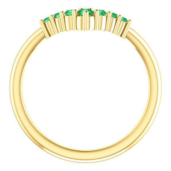 72077-14-K-Yellow_Emerald-Gold-Graduated V Ring-7-stones-2 mm Round Shape