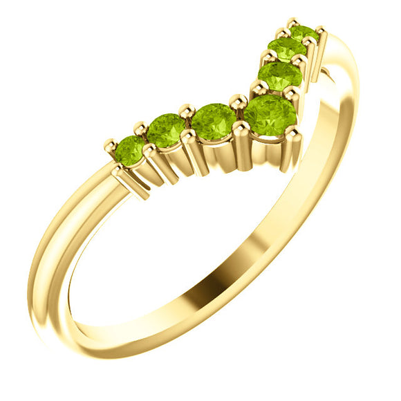 72077-14-K-Peridot-Gold-Graduated V Ring-7-stones-2 mm Round Shape