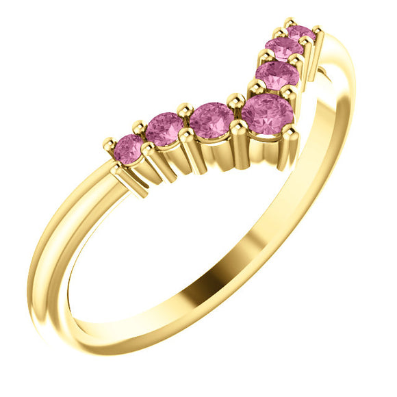 72077-14-K-Pink-Tourmaline-Gold-Graduated V Ring-7-stones-2 mm Round Shape