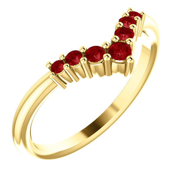 72077-14-K-_Ruby-Gold-Graduated V Ring-7-stones-2 mm Round Shape