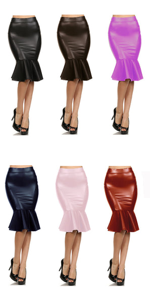 DBG Women's Faux Leather Trumpet Skirts