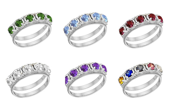 Original Mother's Ring-1-7-stones-3.75mm Round Shape