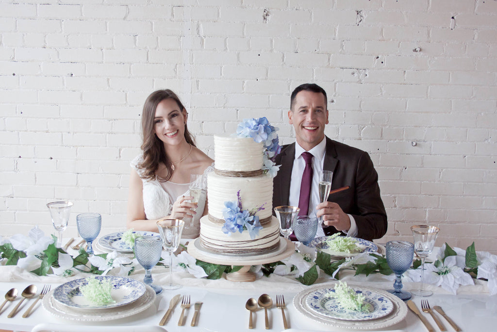 loveatfirstblush blue and white summer bridal cake and inspiration