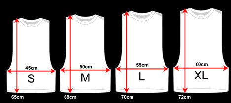 Cut Off Shirt Size Chart