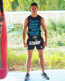 Muay Thai Weapons Shirt - Neon BLUE Sleeveless