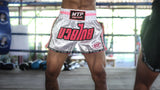MTP Retro Muay Thai Shorts - White/Pink Stripe