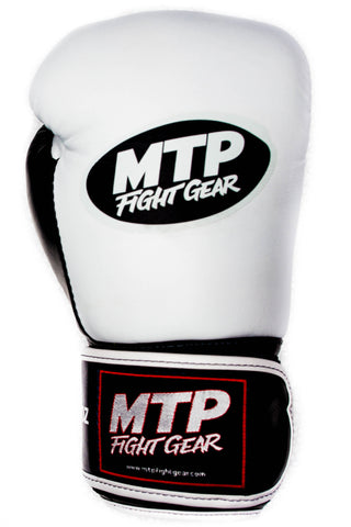 Limited Edition White/Black Thumb MTP Boxing Gloves