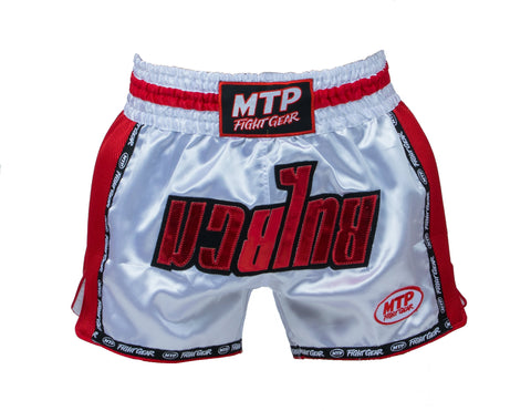 MTP Retro Muay Thai Shorts - White/Red Stripe