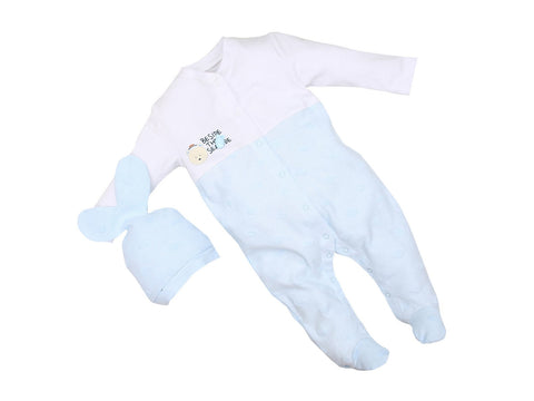 "Premom Baby Boys' "" Bear and Fish"" %100 Cotton Footie and Cap"