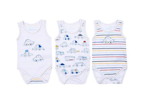 Colourful Cars Baby 3 PieceBodySuits Set 100% Cotton