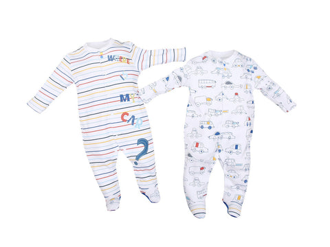 Colourful Cars 2 Piece-Footies Set