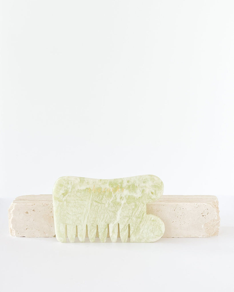 JADE GUA SHA BOARD AND COMB