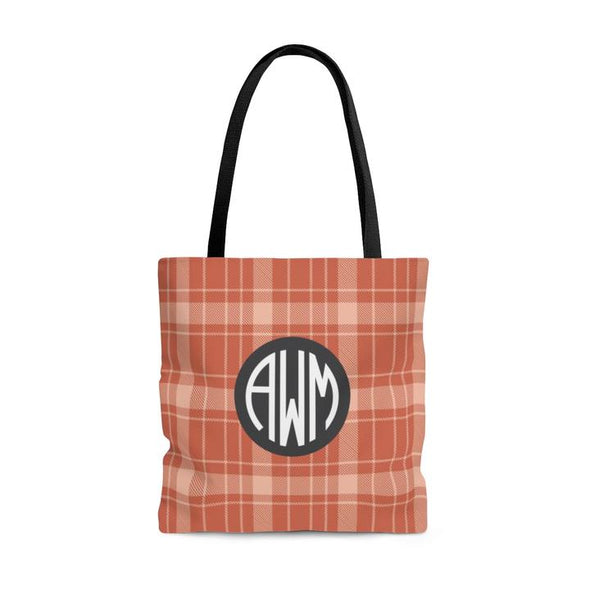 Personalized Buffalo Plaid Tote Bag, 3 Color Choices
