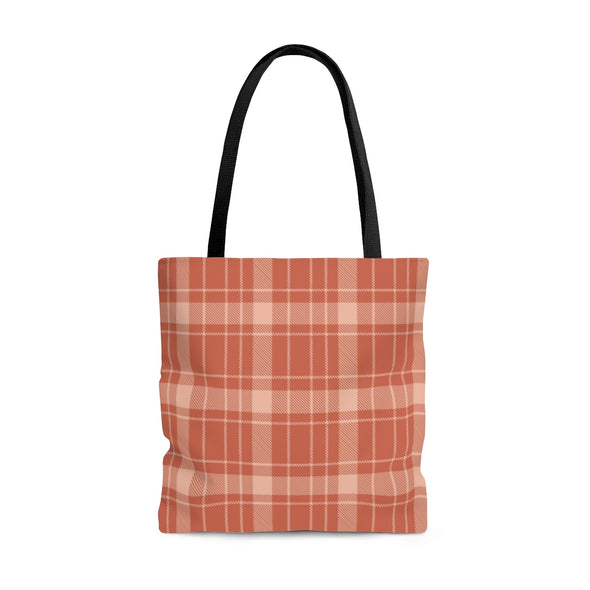 Buffalo Plaid Tote Bag, Burnt Orange