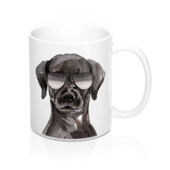 Cool Black Labrador Retriever in Aviators Coffee Mug, 11 oz
