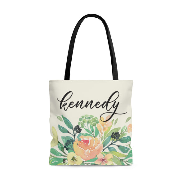 Personalized Coral Watercolor Tote Bag