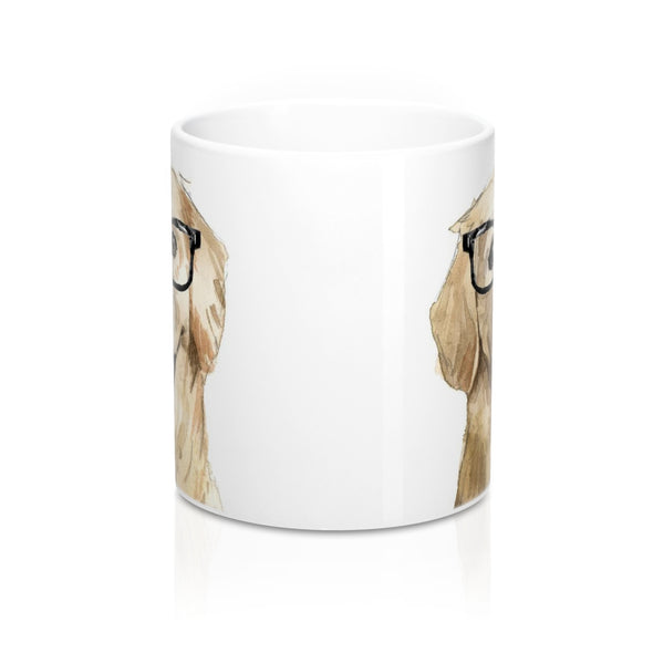 Hipster Golden Retriever Coffee Mug, 11 oz