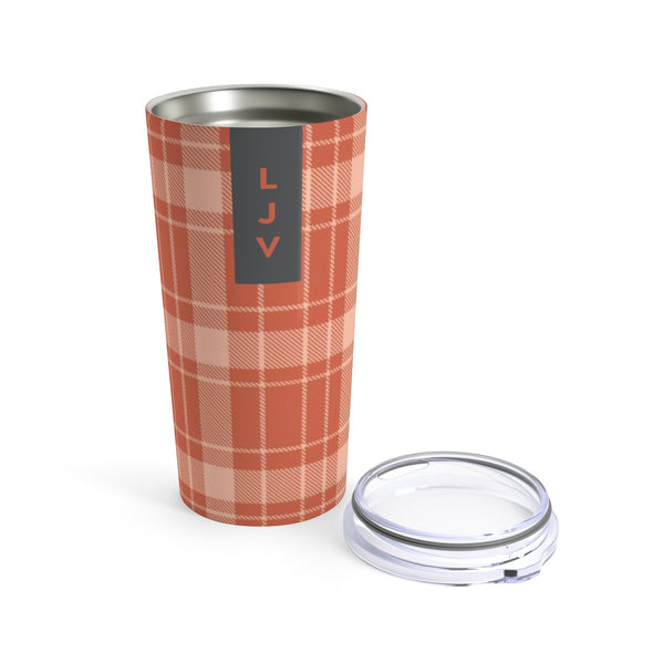 Personalized Orange Buffalo Plaid Drink Tumbler, 20 oz.