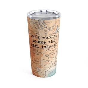 Retro Let's Wander Drink Tumbler, 20 oz.