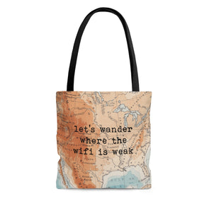 Vintage Map Let's Wander Tote Bag