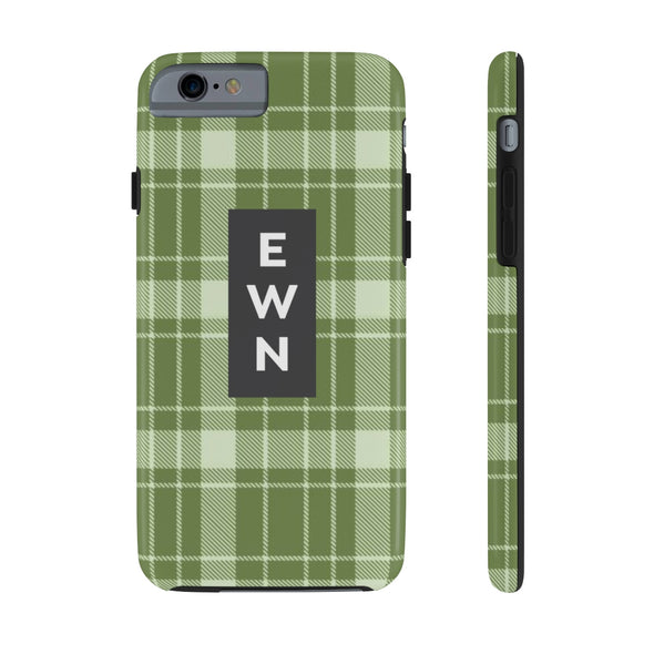 Personalized Buffalo Plaid Phone Case, Green