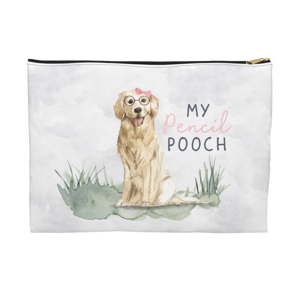 Golden Retriever with Pink Bow Pencil Pouch