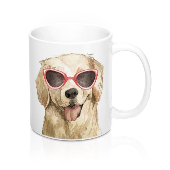 Golden Retriever in Sunglasses Ceramic Mug, 11 oz