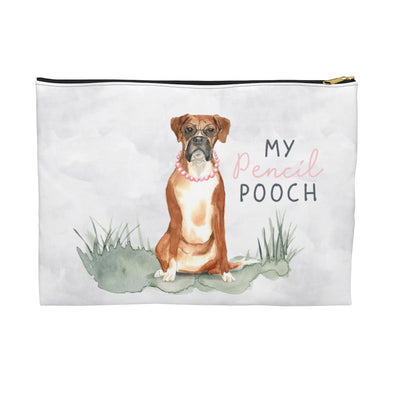 Boxer with a Pink Necklace Pencil Pouch