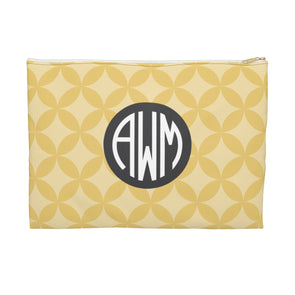 Monogrammed Circle Pattern Accessory Pouch, Golden Yellow