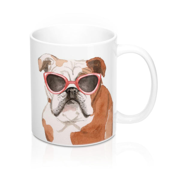 English Bulldog in Sunglasses Coffee Mug, 11 oz