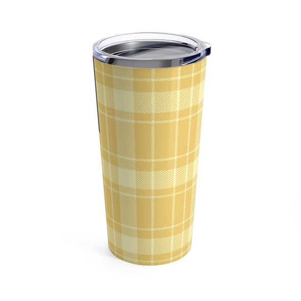 Personalized Yellow Buffalo Plaid Drink Tumbler, 20 oz.