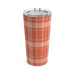 Orange Buffalo Plaid Drink Tumbler, 20 oz.