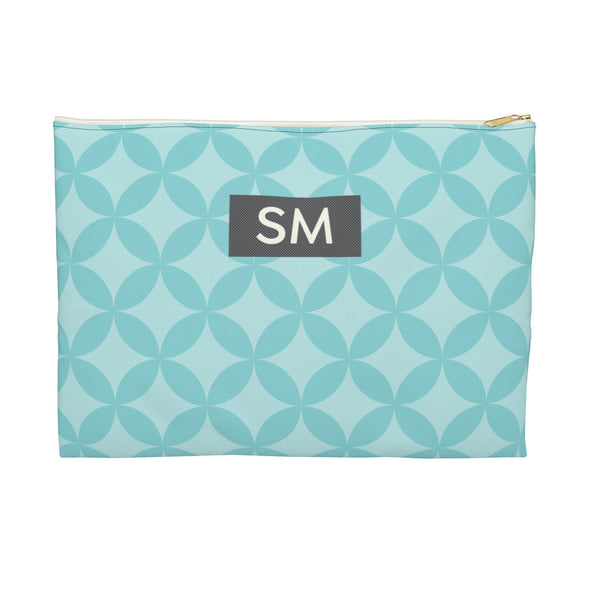 Personalized Circle Pattern Accessory Pouch, Blue