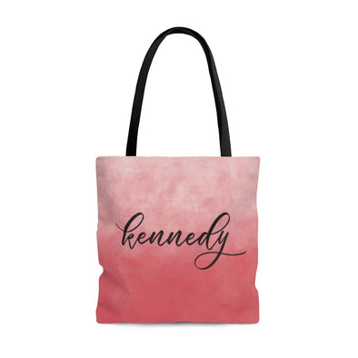 Personalized Watercolor Ombre Tote Bag, Spring Pink