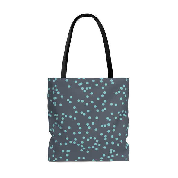 Polka Dot Tote Bag, Teal & Gray