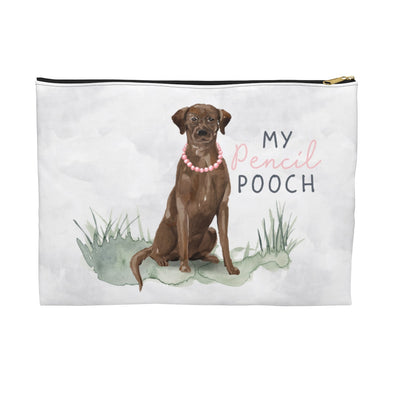 Chocolate Lab with a Necklace Pencil Pouch