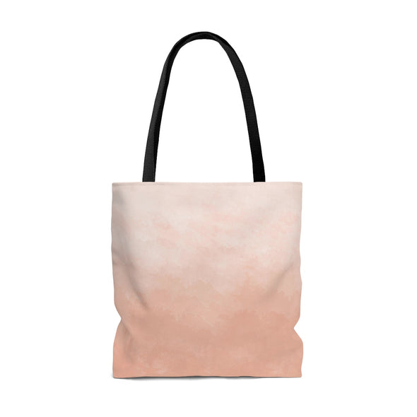 Personalized Watercolor Ombre Tote Bag, Cool Coral