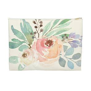 Watercolor Floral Accessory Pouch, Flat