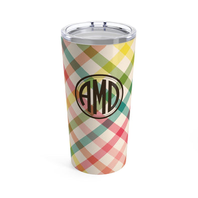 Personalized Spring Plaid Drink Tumbler