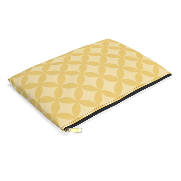 Circle Pattern Accessory Pouch, Golden Yellow