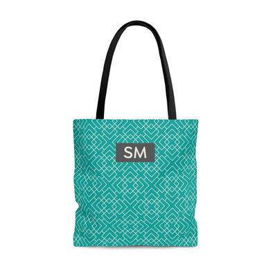 Personalized Pattern Tote Bag, Teal & Cream