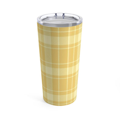 Yellow Buffalo Plaid Drink Tumbler, 20 oz.