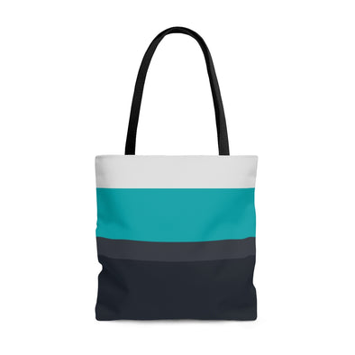 Cool Blue & Gray Striped Tote Bag