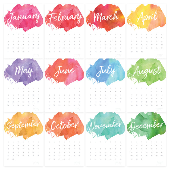 Printable 2019 Watercolor Desk Calendar