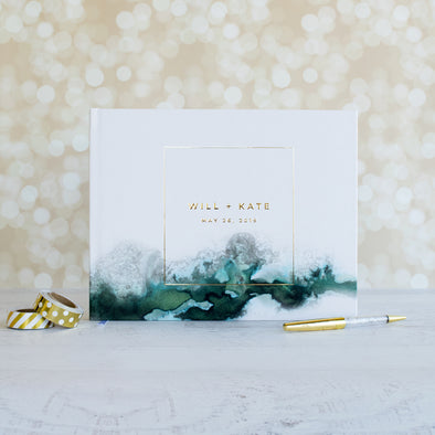Modern Watercolor Wedding Guest Book, GB227PF